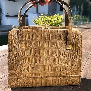 60s Tan & Gold Faux Crocodile Leather Purse
